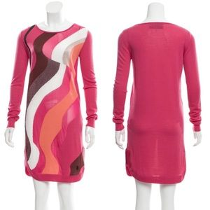 Emilio Pucci Abstract Wool Blend Sweater Dress